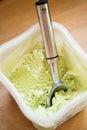 Pistachio ice cream with scoop Royalty Free Stock Photo