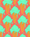 Pistachio ice cream in waffle cone seamless pattern. Cold dessert Royalty Free Stock Photo