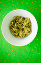 Pistachio paste home made in ceramic bowl Royalty Free Stock Photography