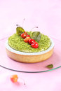 Pistachio Tart with Cherries Royalty Free Stock Photo