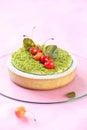 Pistachio Tart with Cherries Royalty Free Stock Photo