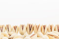 The pistachios on white background. Royalty Free Stock Photo