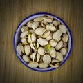 Pistachios on the wooden board