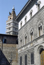 Pistoia tuscany italy belfry of the medieval cathedral and historic palace Royalty Free Stock Photo