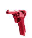 Pistol scratched glamorous pink. Isolated on white background