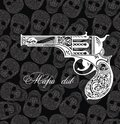 Pistol tattoo card on skull background