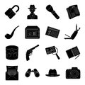 Pistol, tube, identification, magnifier and other attributes. Detective set collection icons in black style vector