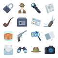 Pistol, tube, identification, magnifier and other attributes. Detective set collection icons in cartoon style vector