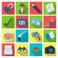 Pistol, tube, identification, magnifier and other attributes. Detective set collection icons in flat style vector symbol