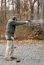 Pistola de la despedida del hombre Fotos de archivo