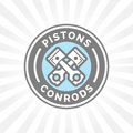Pistons and conrods icon. Motorcar parts sign. Vehicle service symbol Royalty Free Stock Photo