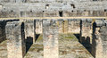 Pit with columns of Italica Coliseum Stock Images