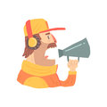 Pit stop technician worker in an orange uniform with loudspeaker, member of racing team vector Illustration Royalty Free Stock Photo