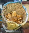 Pita bread in a basket traditional big on the street of the old medina rabat morocco Royalty Free Stock Image