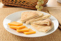 Pita bread and cheese Royalty Free Stock Images