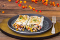 Pita bread with chicken and vegetables