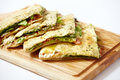 Pita bread with ham and fresh vegetables Royalty Free Stock Photo