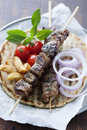 Pita souvlaki Royalty Free Stock Photo