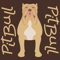 Pitbull terrier vector illustration style flat silhouette