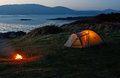 Pitched nylon tent erected camping vacation near beach coast Royalty Free Stock Images