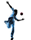 Pitcher Cricket player silhouette Royalty Free Stock Photo