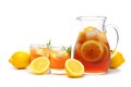 Pitcher of iced tea with two glasses isolated on white Royalty Free Stock Photo