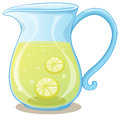 A pitcher of lemon juice illustration on white background Royalty Free Stock Images