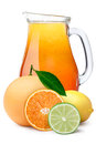 Pitcher of multi-fruit citrus juice Royalty Free Stock Photo