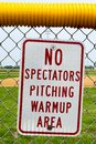 Pitching warmup area sign Royalty Free Stock Photo