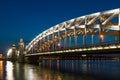 Piter the first bridge in saint petersburg russia on neva river white night Royalty Free Stock Image