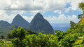 The pitons st lucia are two volcanic spires on caribbean island of and are a unesco world heritage site Royalty Free Stock Photos