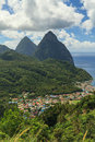 The pitons st lucia are two volcanic spires on caribbean island of and are a unesco world heritage site Royalty Free Stock Photography