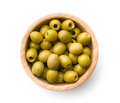 Pitted green olives in bowl Royalty Free Stock Photo