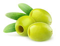 Pitted green olives over white background Royalty Free Stock Photos