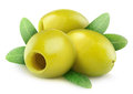 Pitted green olives over white background Royalty Free Stock Photo