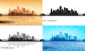 Pittsburgh city skyline silhouettes set vector illustration Stock Photo