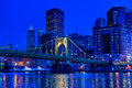 Pittsburgh at night a span of the roberto clemente bridge over the allegheny river in downtown pennsylvania Stock Photos