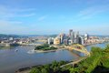Pittsburgh pennsylvania city in the united states skyline with allegheny and monongahela river Stock Photo