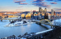 Pittsburgh pennsylvania usa circa jan the city skyline view of the second largest city of in winter sunset Stock Images