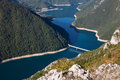 Piva canyon with a bridge in the early morning Royalty Free Stock Photo