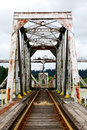Pivot bridge large steel railroad spanning the umpqua river bay near reedsport oregon Stock Images