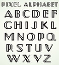 Pixel alphabet capitals use as drop caps or for titles headlines Royalty Free Stock Images