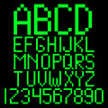 Pixel alphabet green computer letters Royalty Free Stock Photography