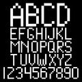 Pixel alphabet and numbers Royalty Free Stock Images