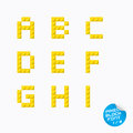 Pixel alphabet unique block with yellow color Stock Photos