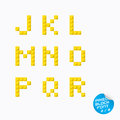 Pixel alphabet unique block with yellow color Royalty Free Stock Photo