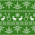 Pixel art christmas weed seamless vector background green Royalty Free Stock Photo