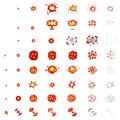 Pixel art explosions. game icons set. Comic boom flame effects for emotion. 8-Bit Vector. Bang burst explode flash