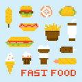 Pixel art fast food vector set Royalty Free Stock Photo