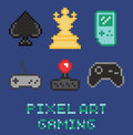 Pixel art game design icon set - chess, gamepades